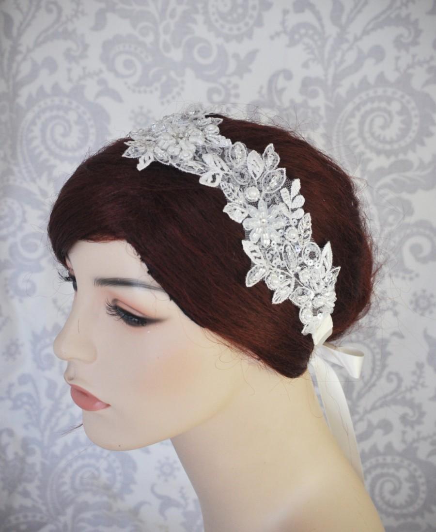 bridal lace headpiece, wedding headband with satin ribbon tie