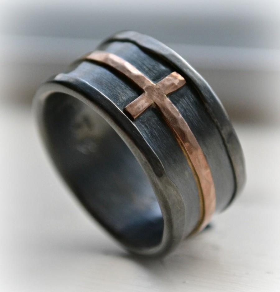 Mens Cross Wedding Band Rustic Hammered Ring Oxidized Fine Silver Sterling Copper Handmade