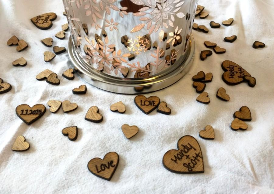 Rustic Wedding Engraved Personalized Heart Confetti Table