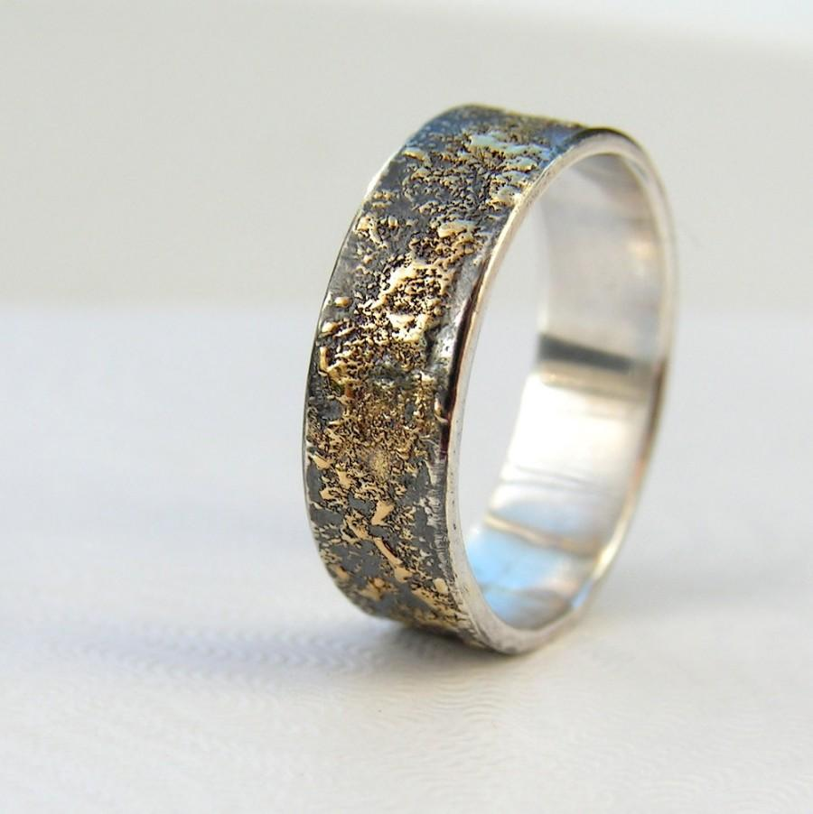 Gold Chaos Rustic Men S Wedding Ring In 18kt And Oxidized Sterling Silver