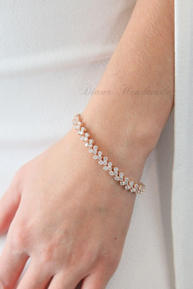 Rose Gold Bracelet Cubic Zircon Wedding Jewellery Bridal Jewelry Set Yellow Silver Bridesmaids