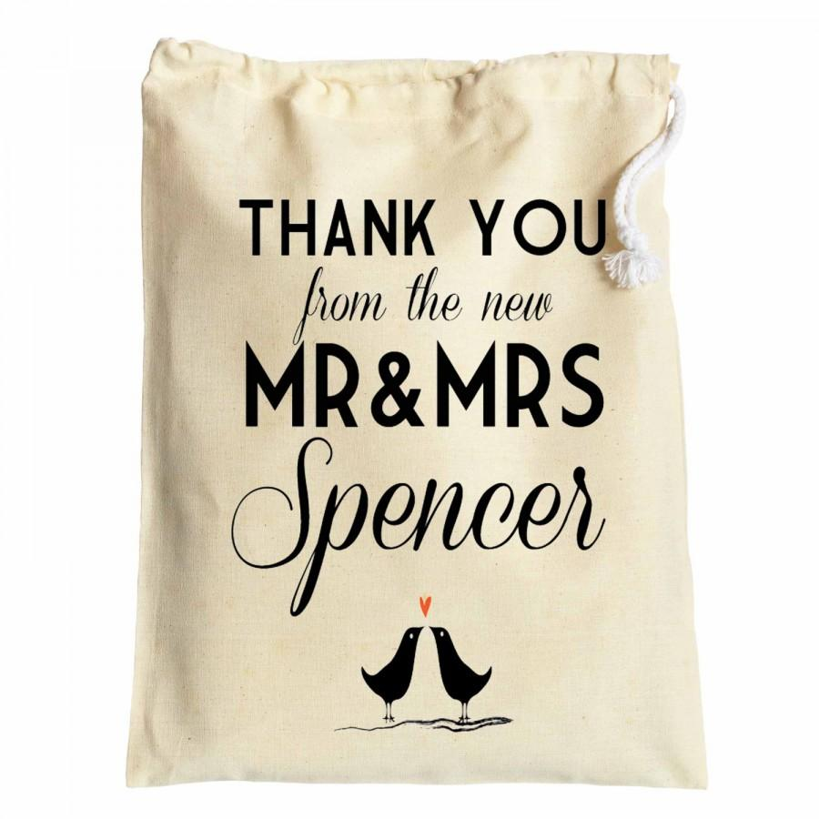 Wedding Favour Thank You Cotton Drawstring Gift Bags Newly Weds Just Married For Bridesmaids Guests Table Decoration