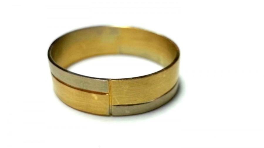 Mixed Metal Ring Solid Gold Wedding Band Exclusive Design Handmade