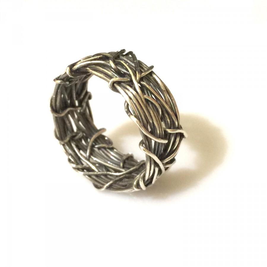 Mens Unique Wedding Band Oxidized Silver Rustic Ring Textured Alternative Crown Of Thorns