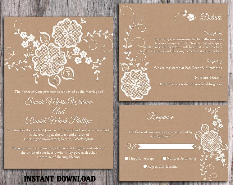 Diy Lace Wedding Invitation Template Set Editable Word File Printable Rustic Burlap Vintage Fl