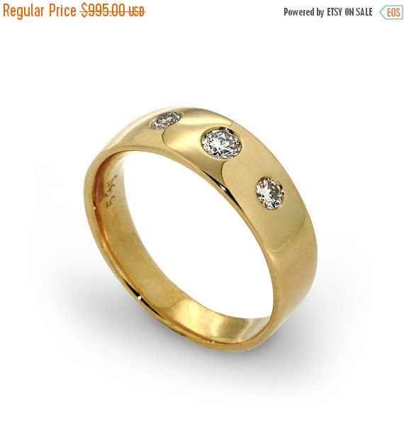 Clearance 35 Off Three Stone Diamond Ring Unique Wedding Band Engagement 14k Gold For Women Mens W