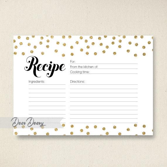 Gold Glitter Confetti Recipe Card Bridal Shower Printable Instant C066