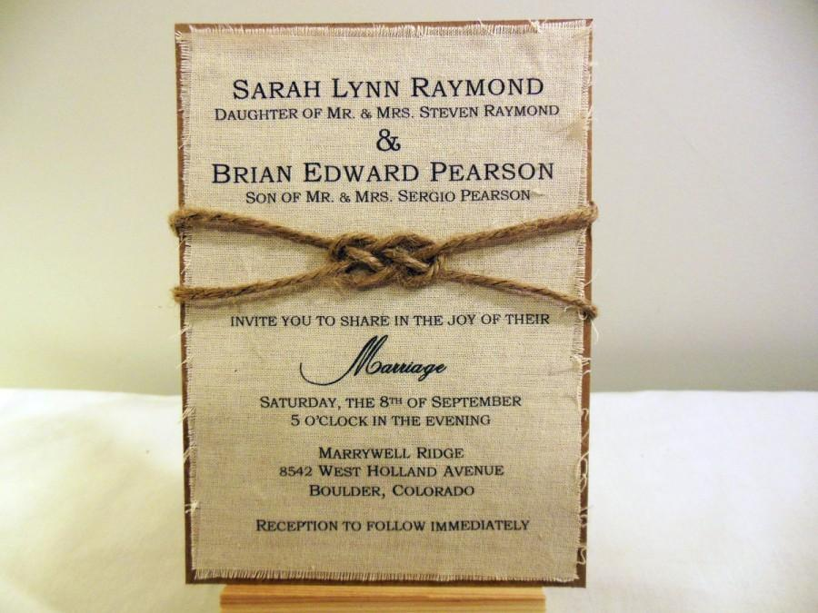Diy Rustic Wedding Invitation Kit Burlap Fabric Knot Ideas