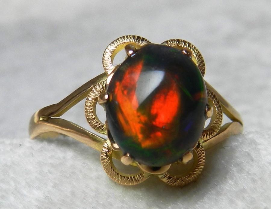 Opal Engagement Ring Black Vintage 1 0 Carat In 14k White Gold