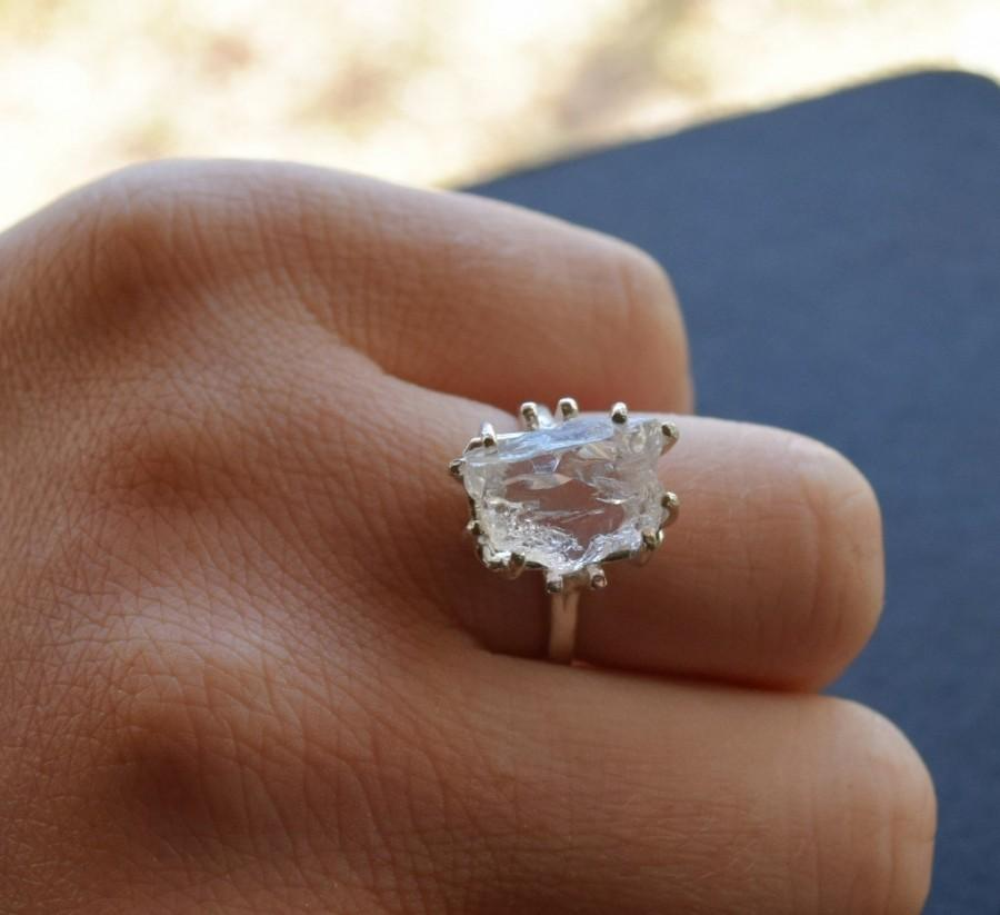 Diamond Engagement Ring Unique Rustic Raw With Side Stones Sterling Silver Wedding Statement Size 7 Avello