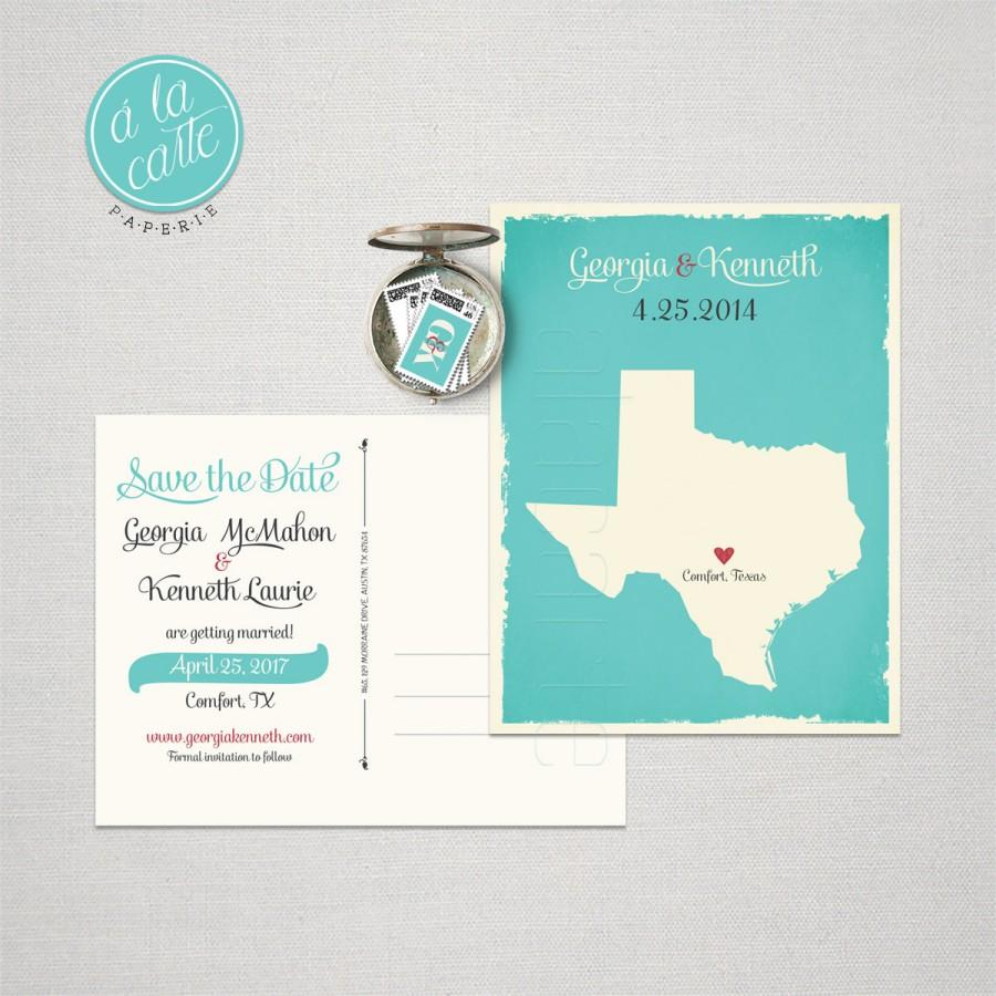 Texas Destination Wedding Us State Save The Date Postcard Turquoise Invitation