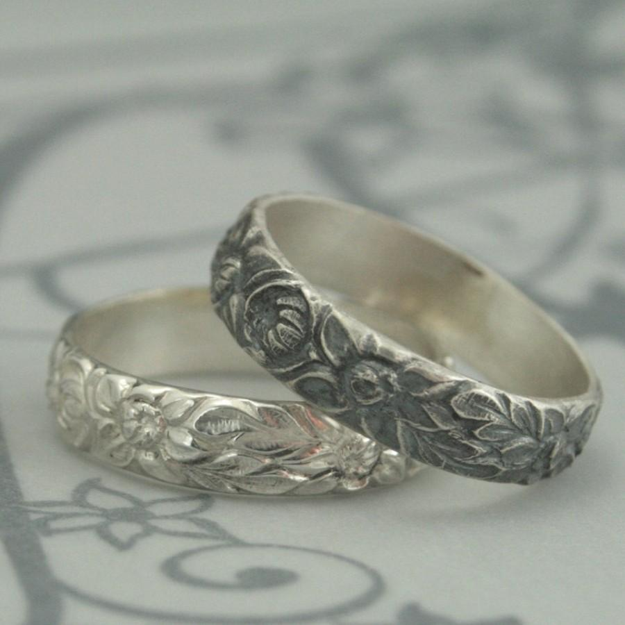 Antique Style Wedding Ring The Dahlia Band Sterling Silver Flower Pattern Daisy Sunflower