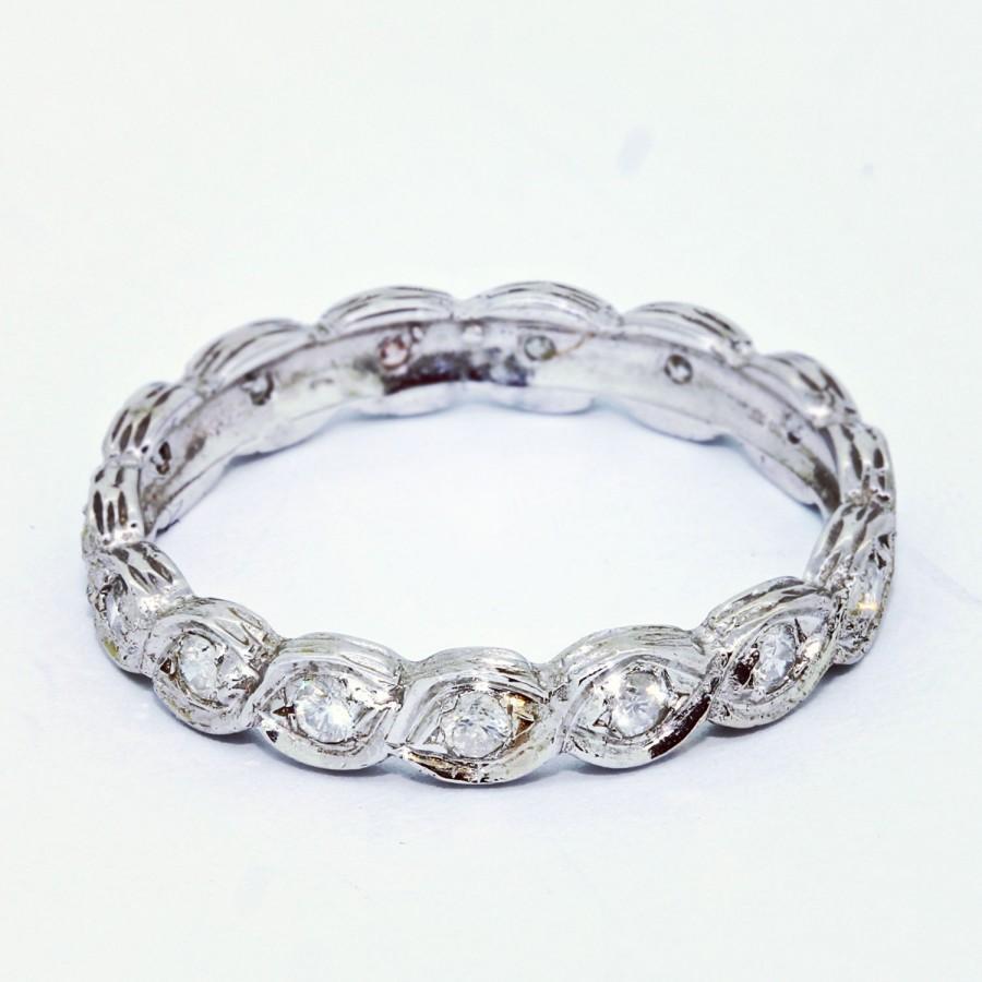 Unique Wedding Ring 0 28 Ct Vintage Band 14k White Gold Bands Women Art Deco Size 6
