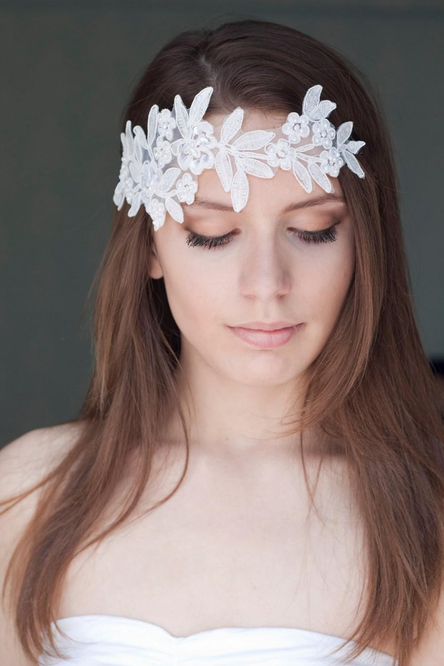 bridal lace headband with pearls, wedding ivory headband, boho chic