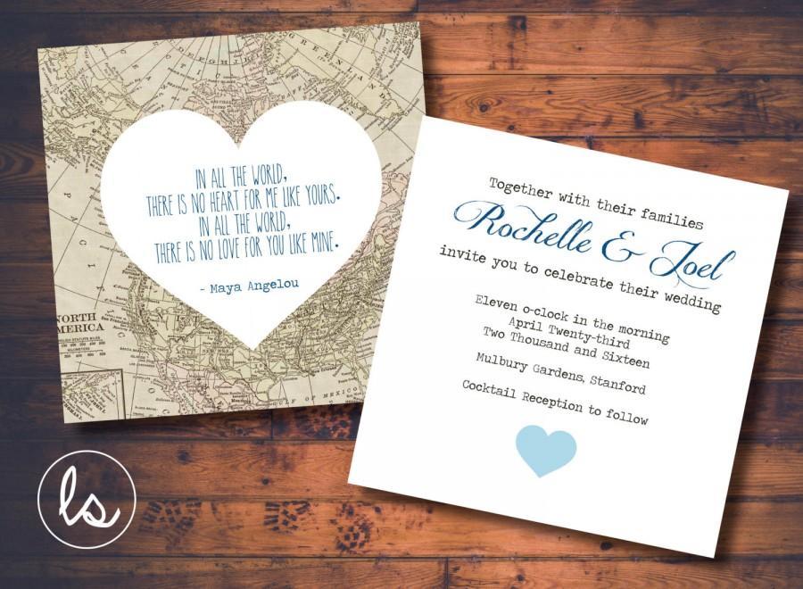 Diy Printable Vintage Map Wedding Invitation Destination Printed Invitations