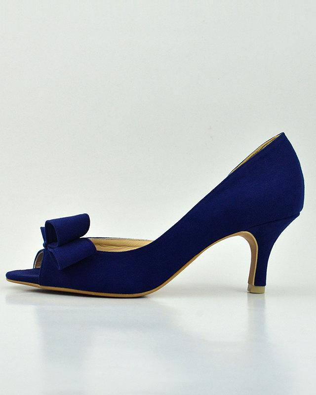 Something Blue Wedding Shoes Navy Bridal Bridesmaids Dark Suede Pump