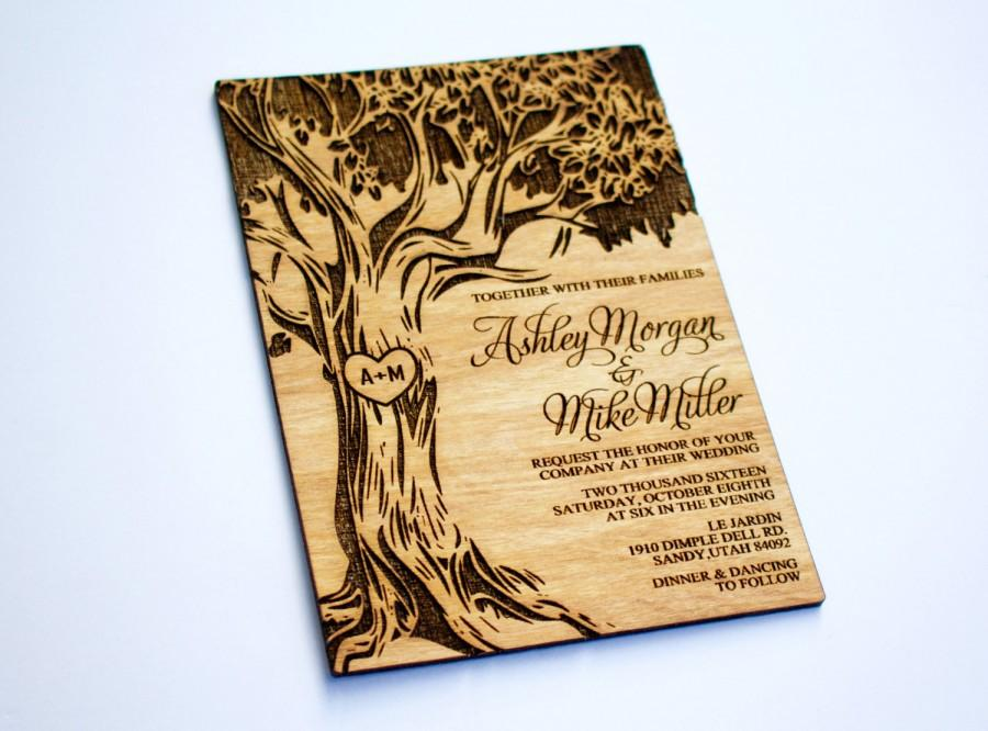 25 Wooden Wedding Invitation Oak Tree Real Wood Laser Engraved Save The Date