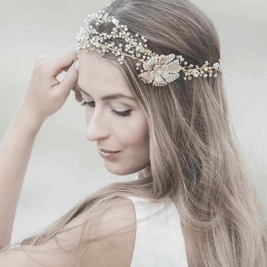 wedding hair accessories ,swarovski bridal headband ,gold forehead