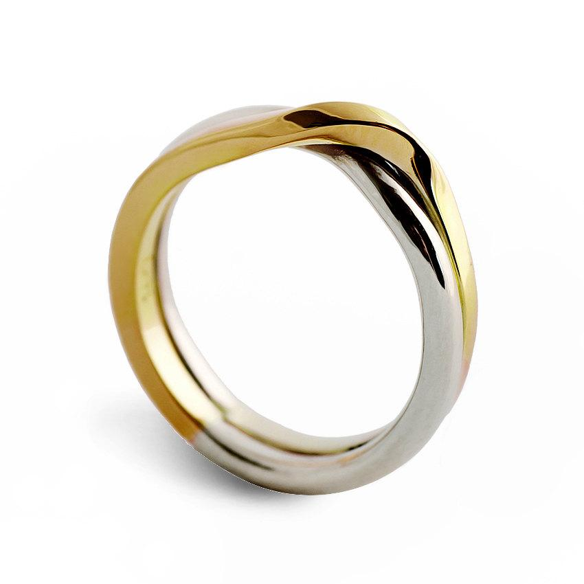 Love Knot Two Tone Wedding Band Unique Ring Alternative White And Yellow Gold