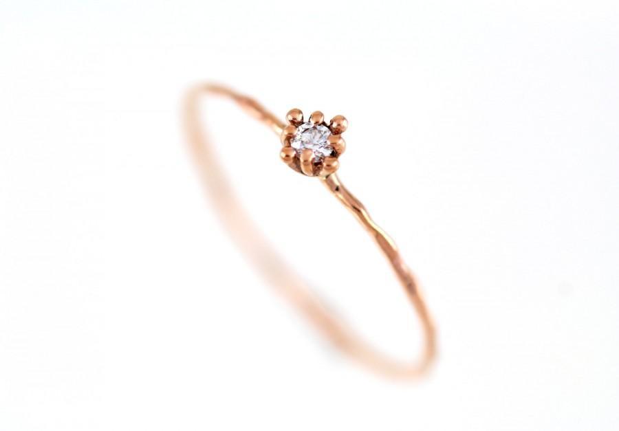 Simple Gold Ring Diamond Ring Rose Gold Gold Flower Ring