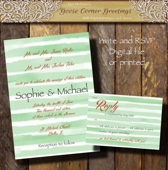 Watercolor Wedding Invitation Suite Water Color Invitations Mint Stripe