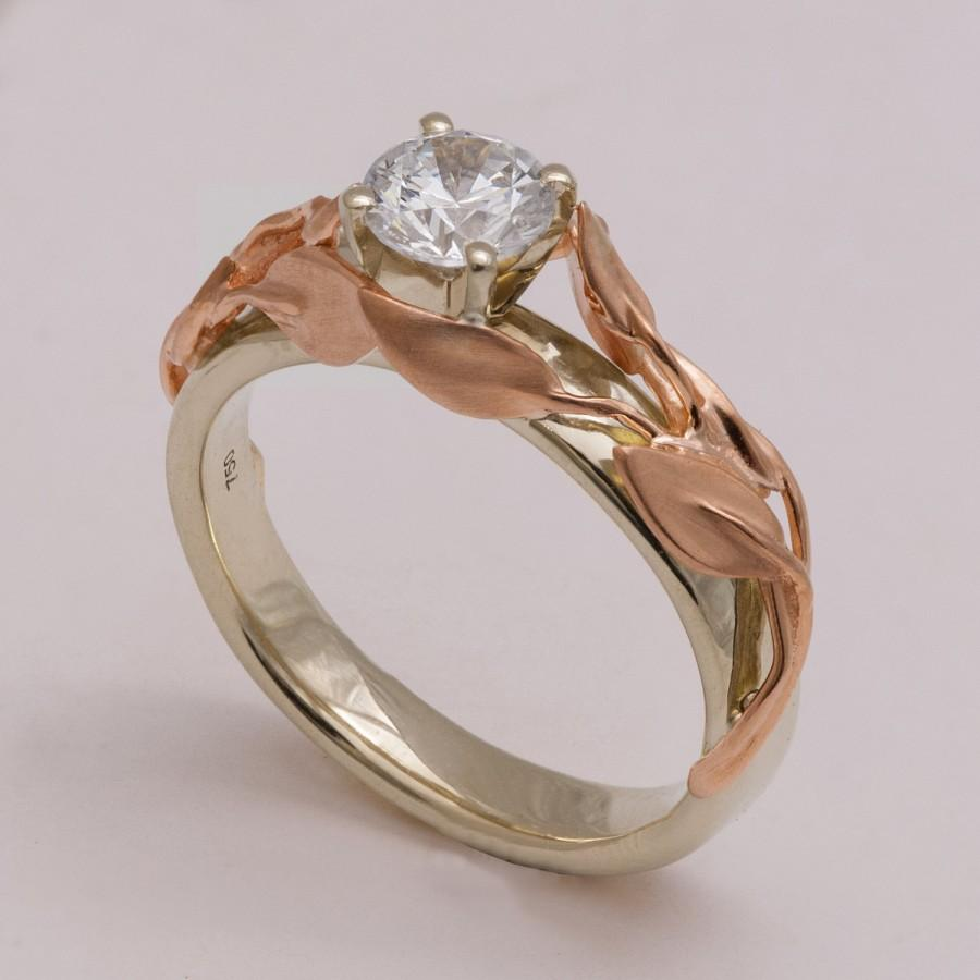 Two Tone Leaves Engagement Ring 14k White And Rose Gold Diamond Unique Leaf Alternative 4b