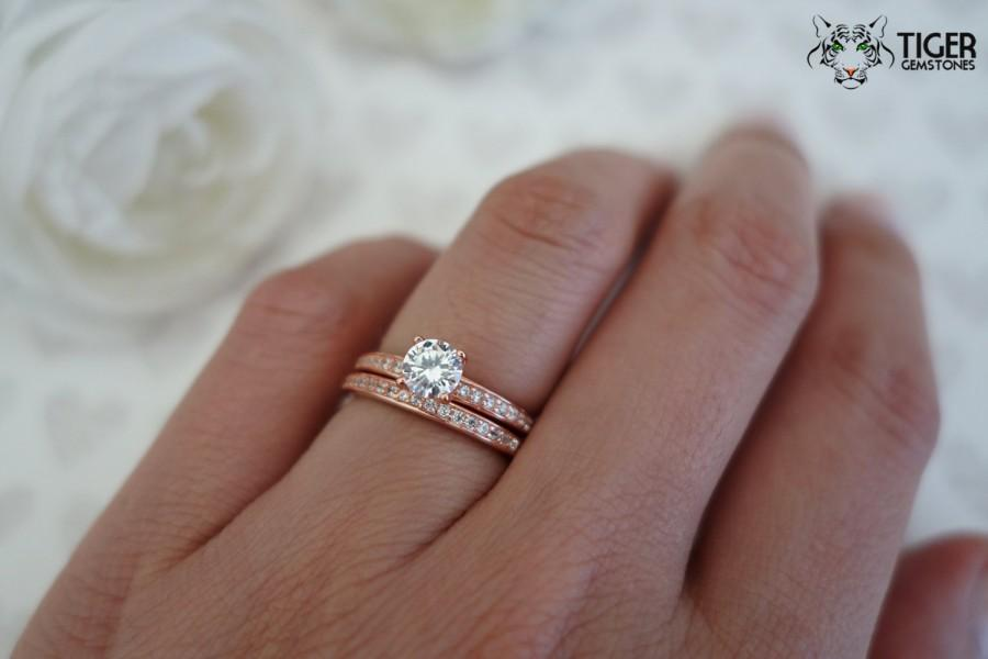 1 2 Ct Solitaire 3 4 Ctw Wedding Set Half Eternity Rings Man Made Diamond Simulants Engagement Sterling Silver Rose Gold Plated