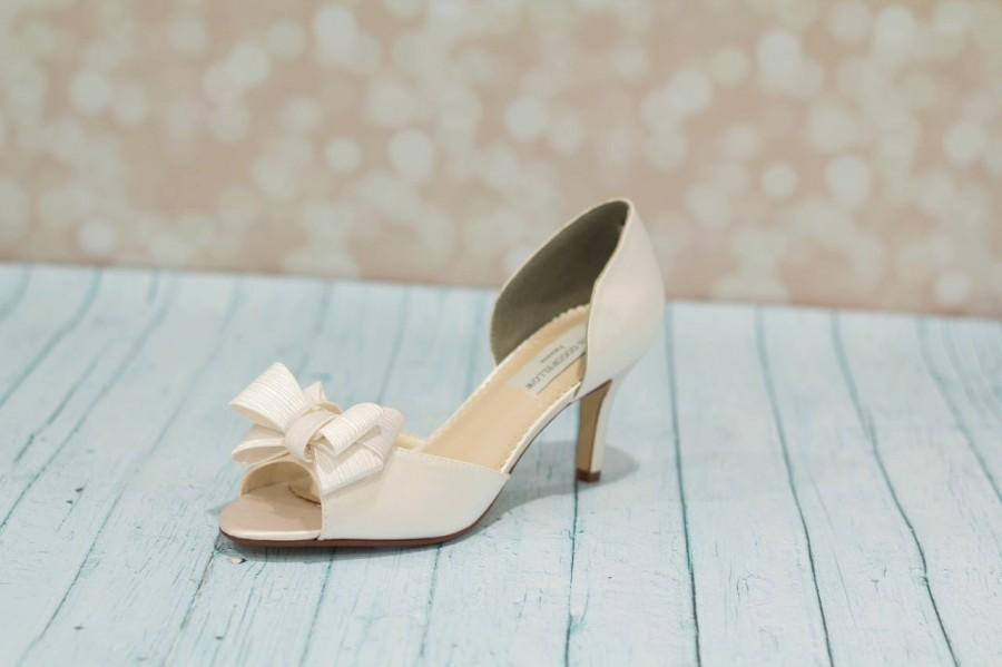 Wedding Shoes Bridal Shoe Bow Dyeable Satin Ivory Custom Heels P Toe