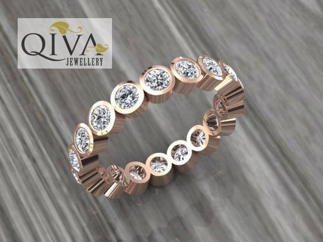 Eternity Ring Rose Gold Band Diamond Wedding Unique