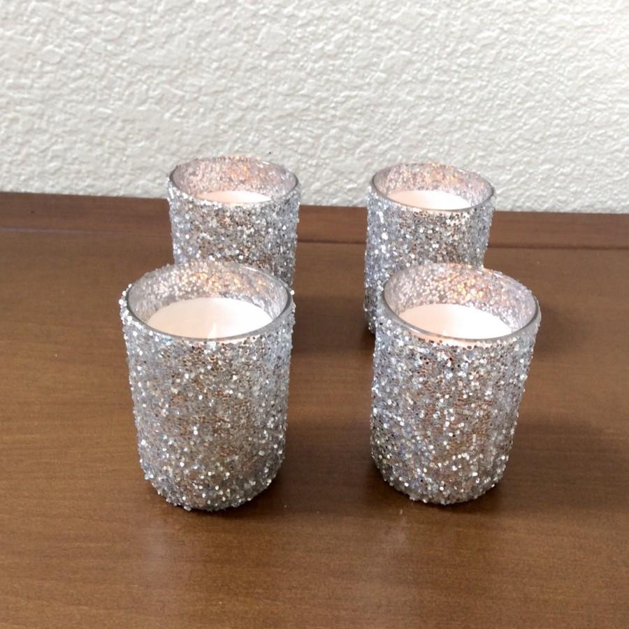 Silver Glitter Candle Holder Wedding Holders Center Piece