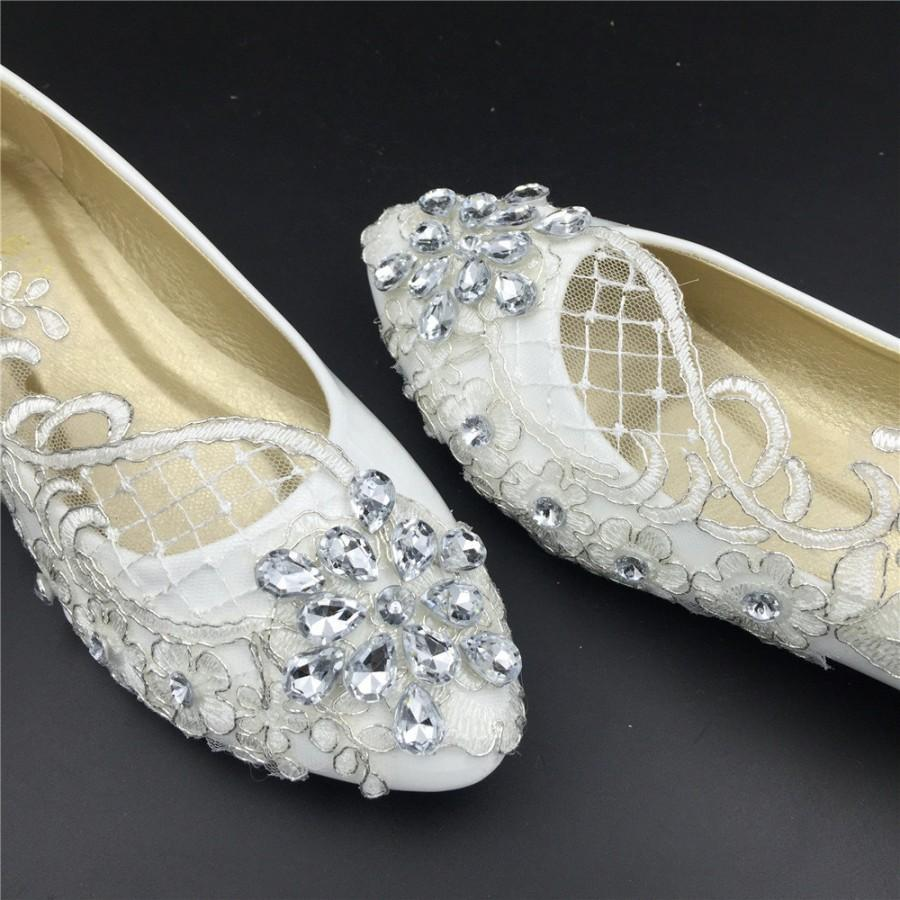 Wedding Flats Bridal Ballet Shoes Comfortable Lace Womens S Full Sizes