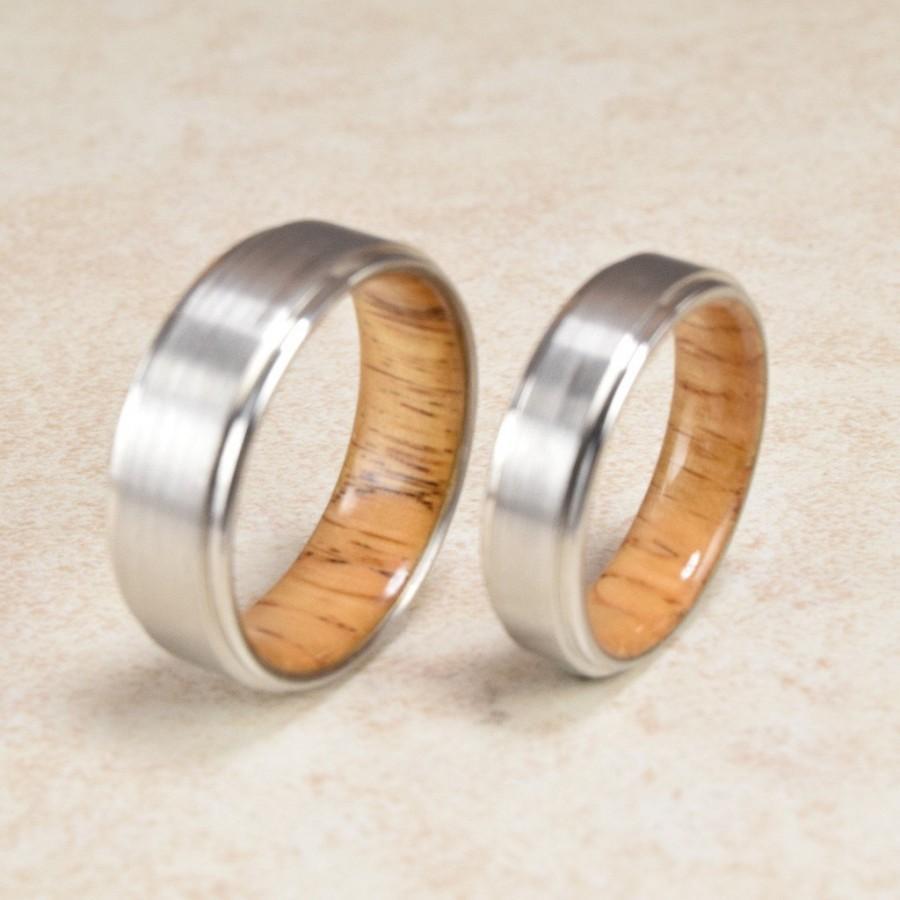 Cobalt Red Oak Wood Lined Ring Engagement Exotic Men S Wedding Band Women Gift