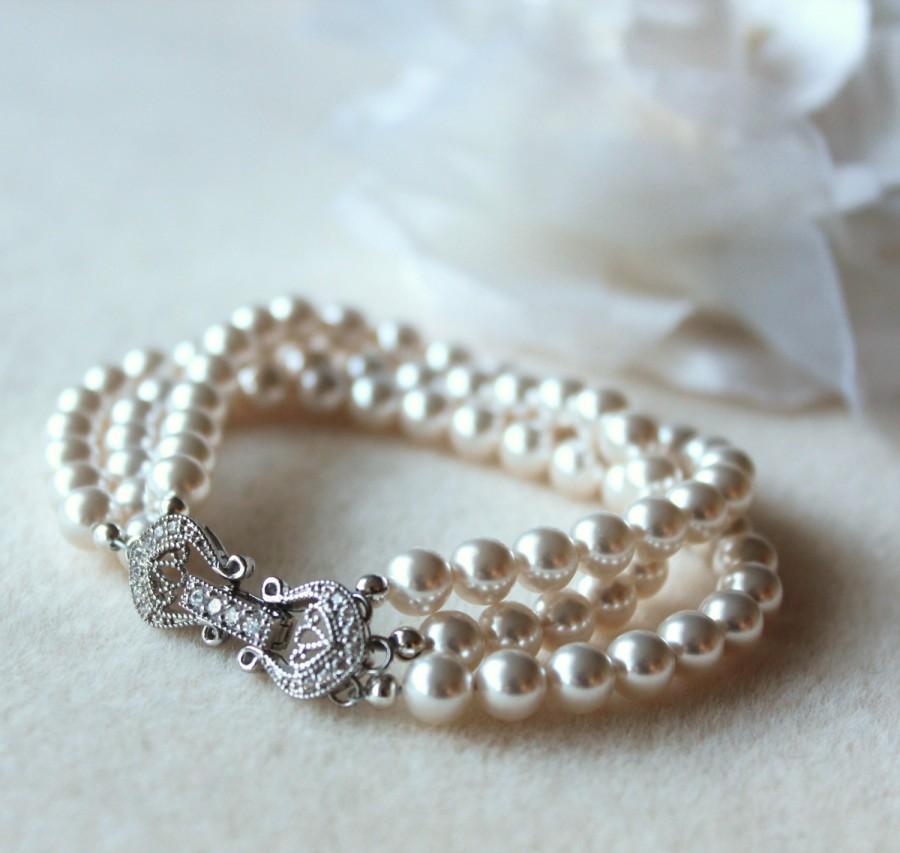 Pearl Bridal Bracelet Wedding White Ivory Cream Swarovski Crystal Cubic Zirconia Clasp Party Gift Jewelry