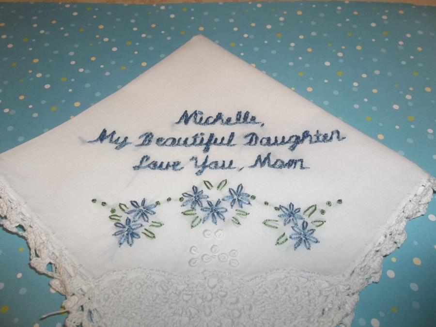 Mom To Bride Wedding Gift Something Blue Handkerchief My Beautiful Daughter Hand Embroidered Bouquet Wrap