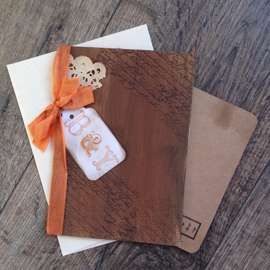 Rustic Fall Wedding Invitation Book Style Barn Brown Orange Elena