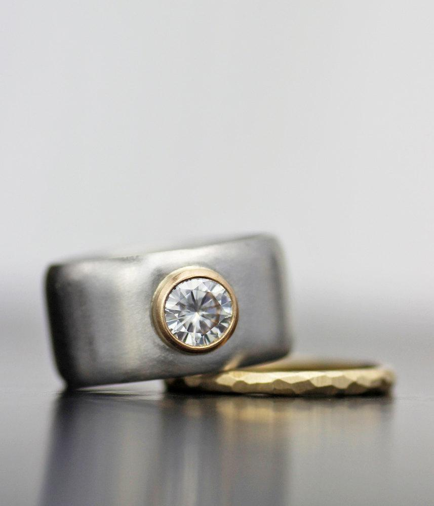 Full Moon Moissanite And Palladium Wide Band Engagement Ring Unique Alternative Wedding Hers Her Recycled