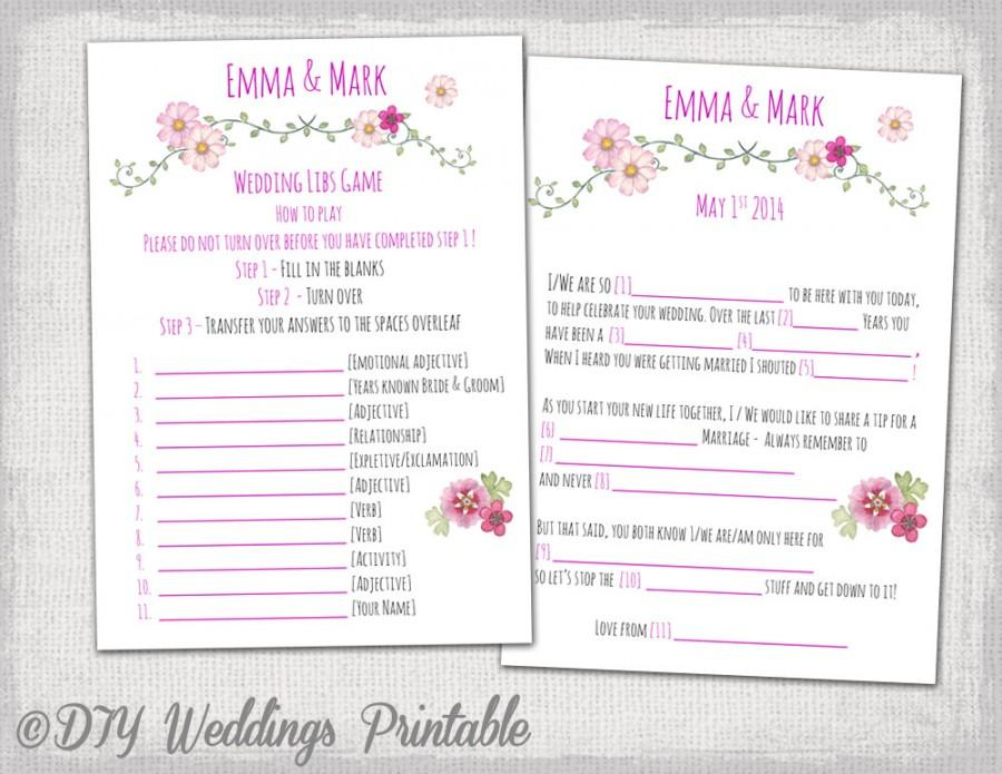 Wedding Mad Libs Template Pink Printable Guest Card Folk Festival Marriage You Edit Instant