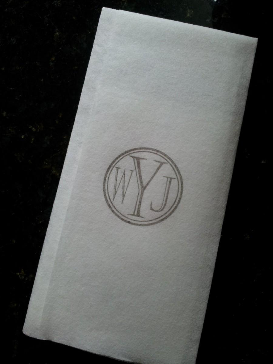 Wedding Napkins Guest Towels Serviettes Super Soft Cloth Like Paper Hand Stamped