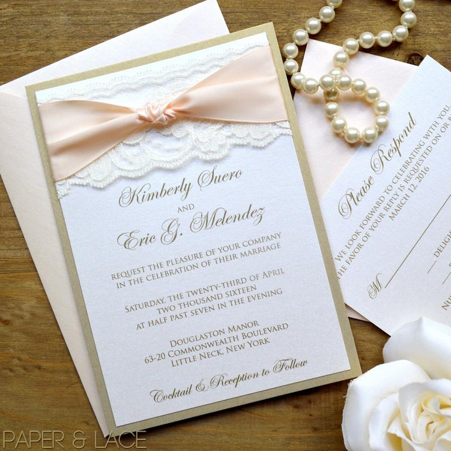 Gold And Ivory Lace Wedding Invitation Clic With Blush Ribbon The Knot