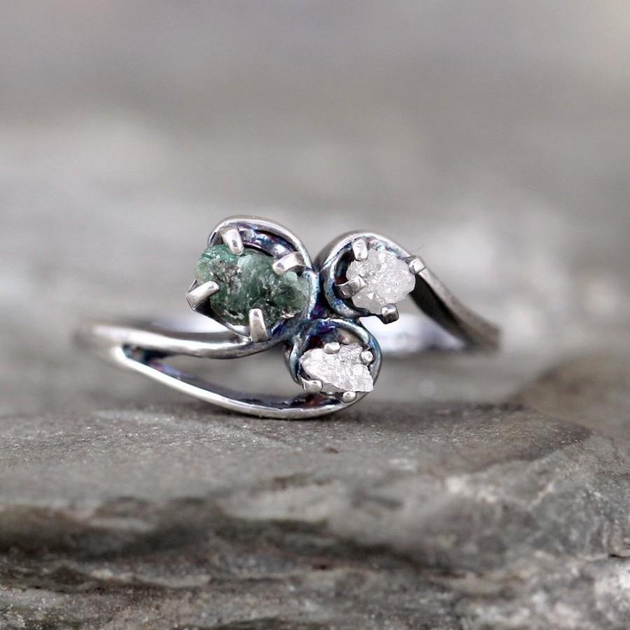 Raw Diamond Emerald Trio Ring Uncut Rough Gemstones Engagement Rings Conflict Free May Birthstone Anniversary