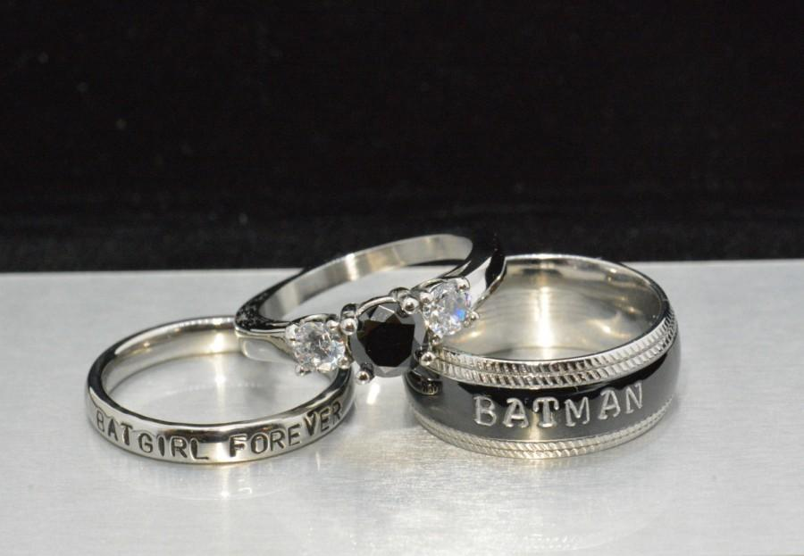 Batman And Bat Forever Rings Black Diamond Cz White Complete 3 Piece Wedding Set Dc Comics Heros