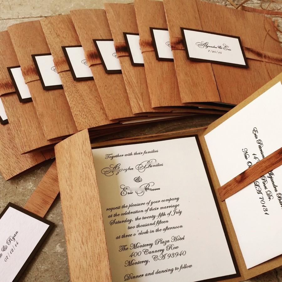 Wooden Pocket Fold Rustic Wedding Invitation Organic Folio Bohemian Kraft