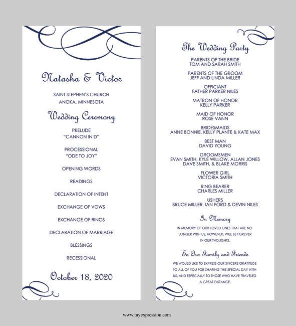 Wedding Program Template Tea Length Calligraphic Flourish Navy Blue Instant Editable Ms Word File