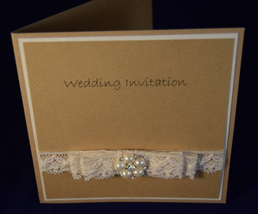 Wedding Invitation Bespoke Handcrafted Card Rustic Design Made To Order Willow Collection