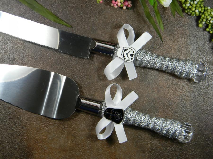 Star Wars Wedding Cake Knife Set Darth Vader Stormtrooper Serving Metallic Silver Knives Server Superhero