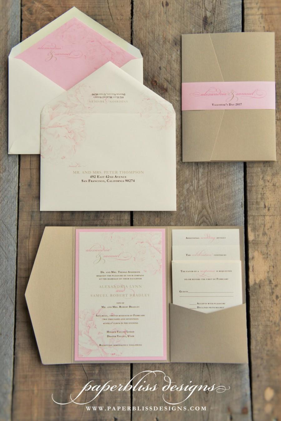 Blush Pink Peony Wedding Invitation Suite And Gold Luxury Pocket Invitations Pocketfold Invite