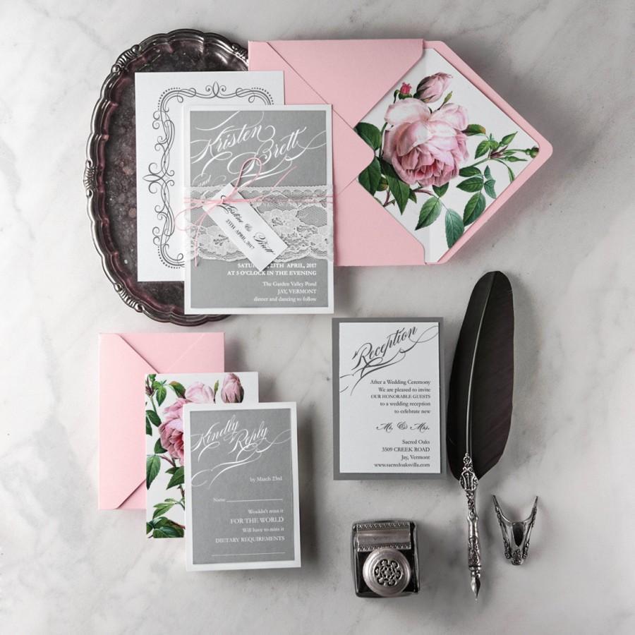 Wedding Invitation Suite 20 Grey Pink Invites Lace