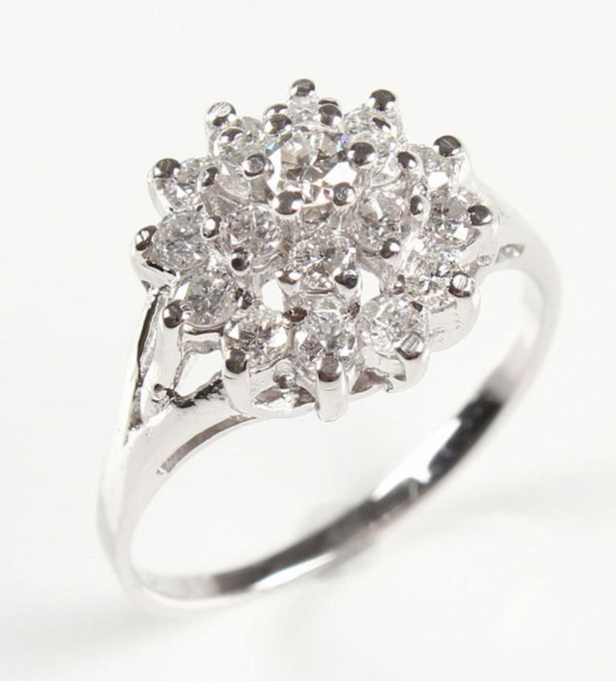 Vintage Engagement Ring Diamond Solitaire 14k White Gold 1 Carat Women Jewelry Setting
