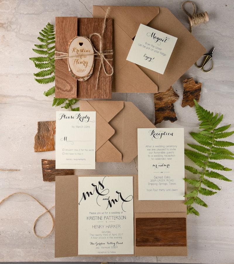 Rustic Wedding Invitation 20 Real Wood Engraved Slice Wooden Invites Recycled Eco