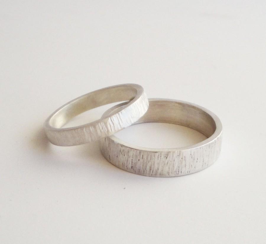 Simple Wedding Rings Handmade Hammered Sterling Silver Band Set 5mm 3mm Satin Finish Ring Bark Custom Made